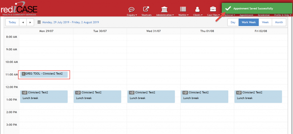 Appointments in calendar format and can be edited.
