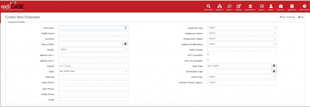 Create your employee records in rediCASE.