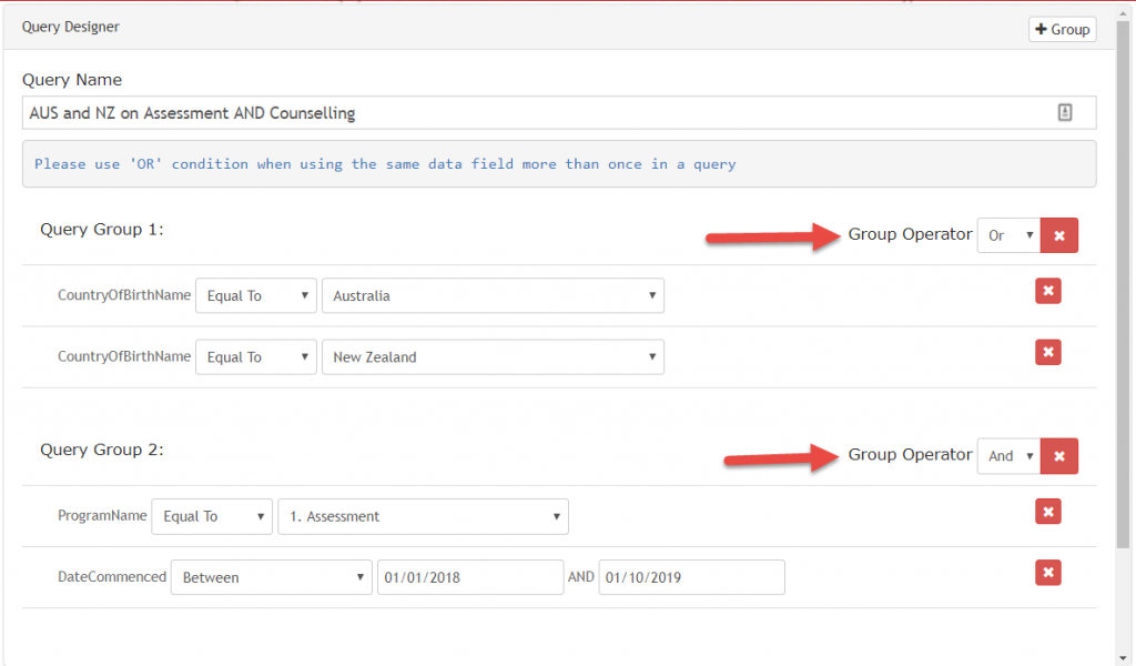 Build your query to view your report in rediCASE Report Builder.